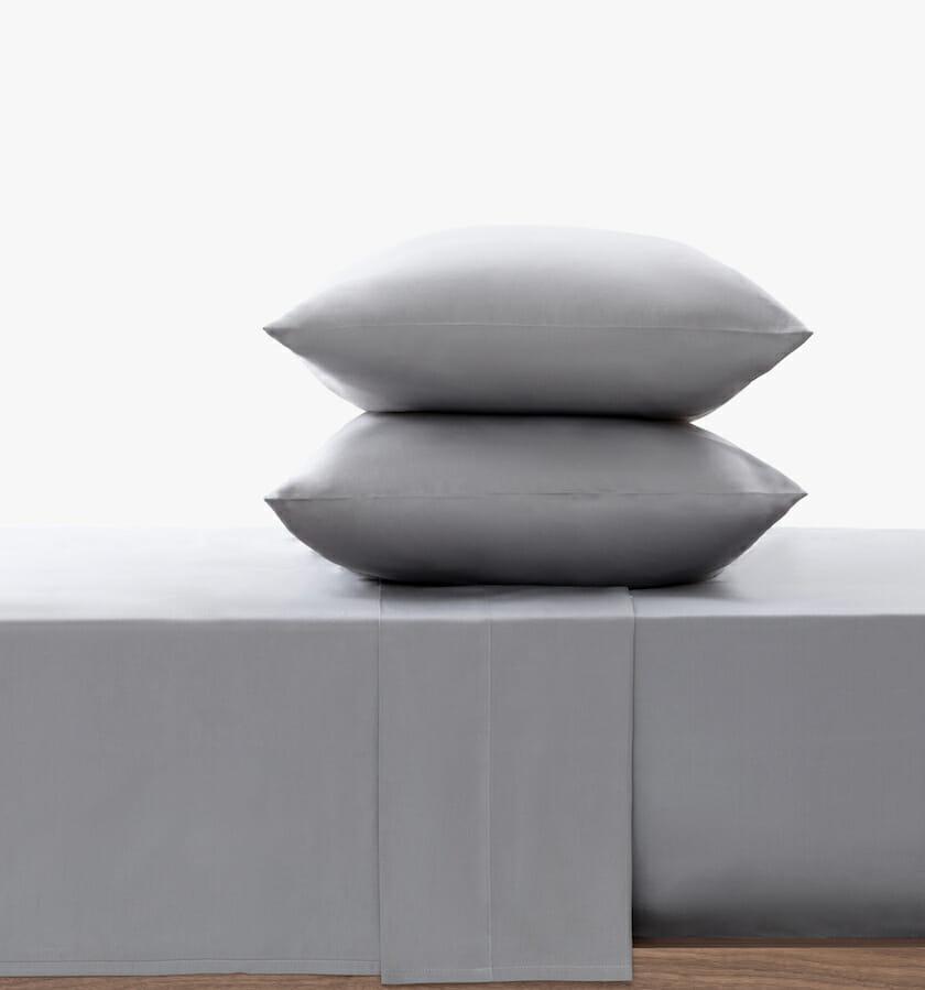 Cotton sateen flat sheet stone set