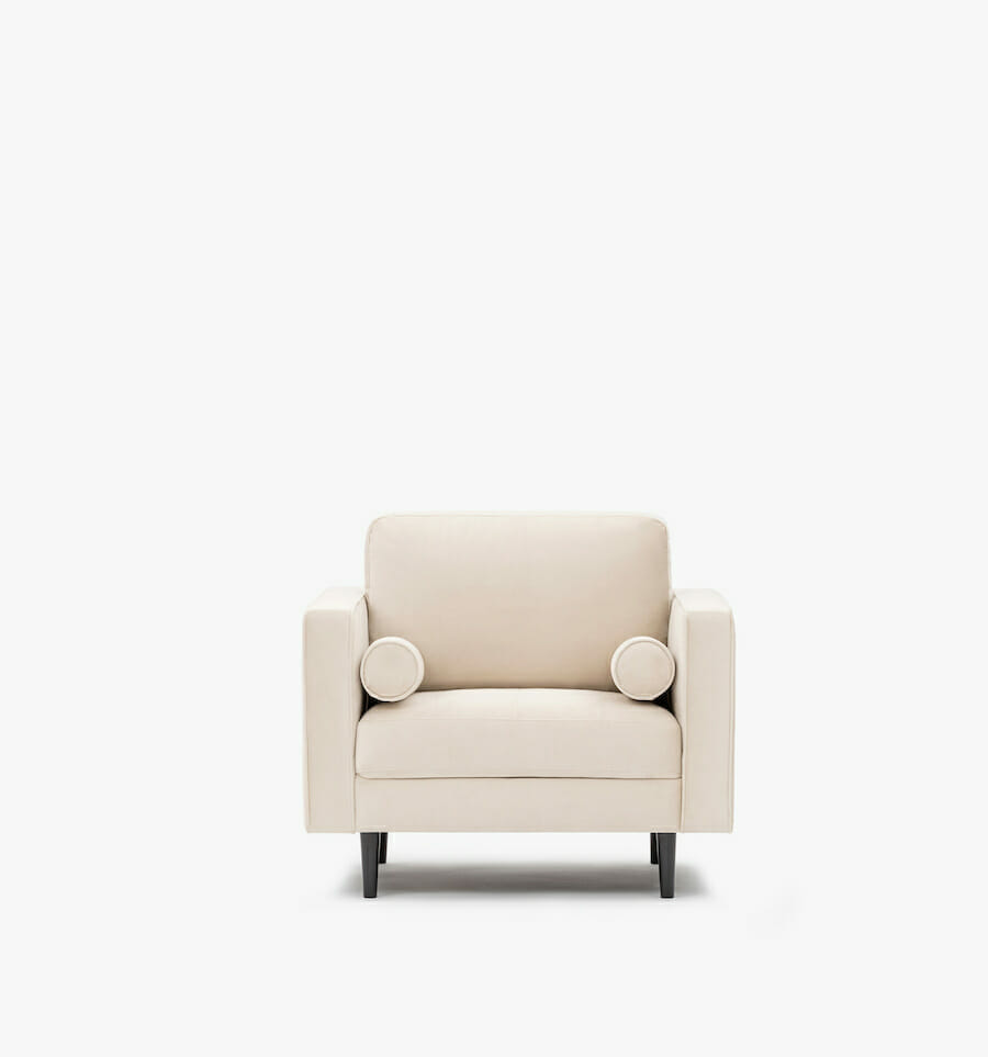 soho armchair velvet - cream