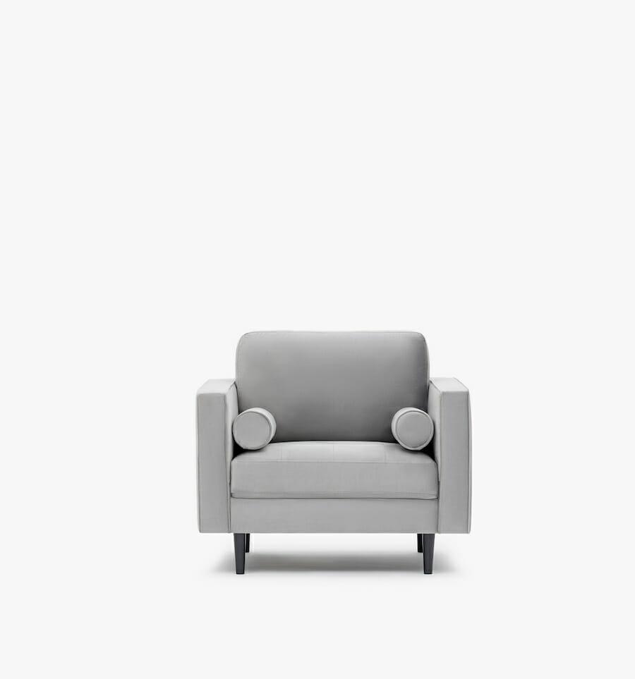 soho armchair velvet - grey