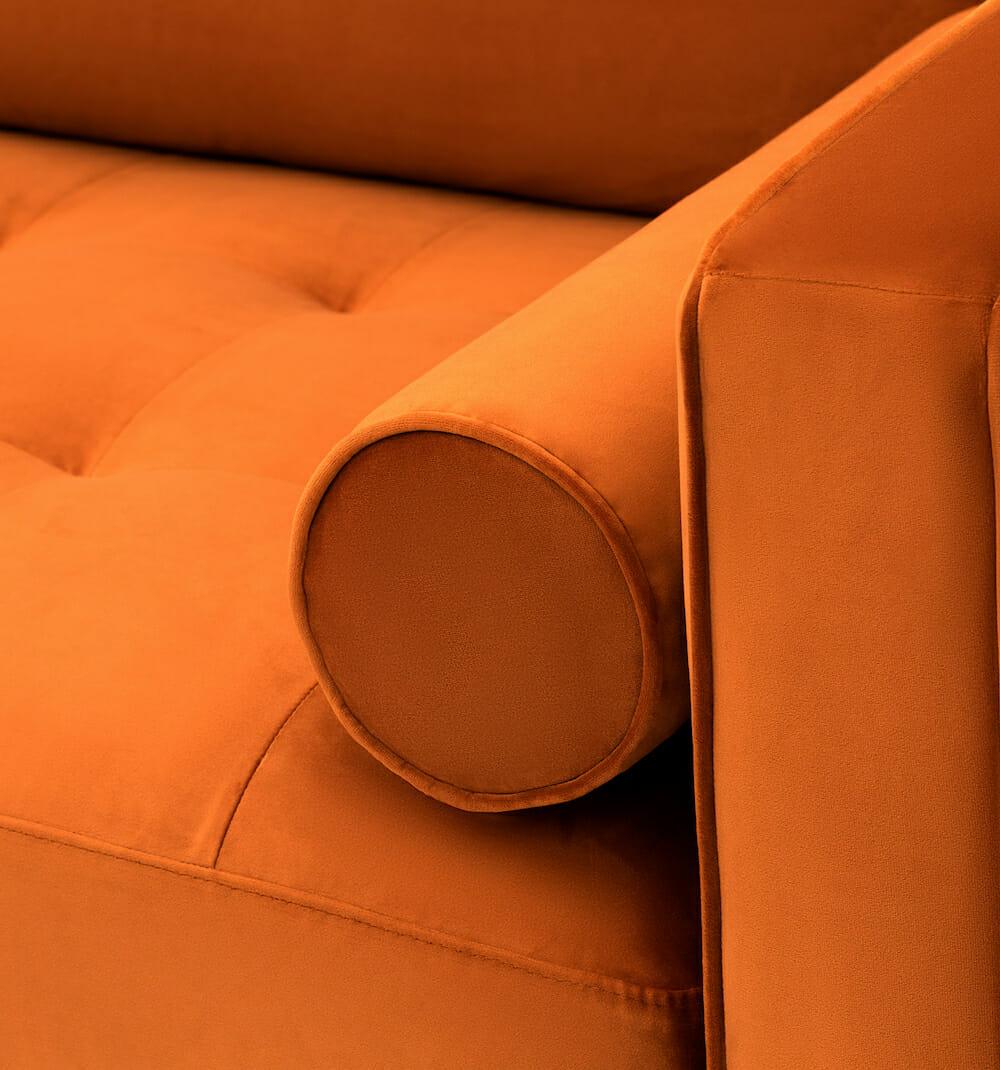 soho velvet sofa - orange