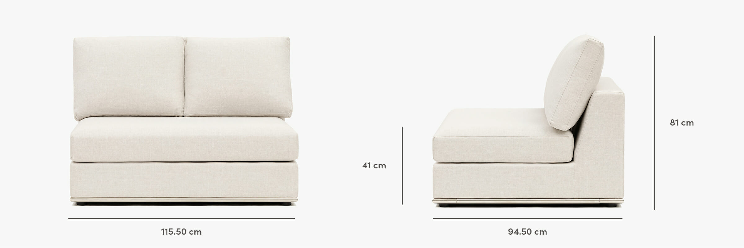 The Flow Armless Chair - dimensions