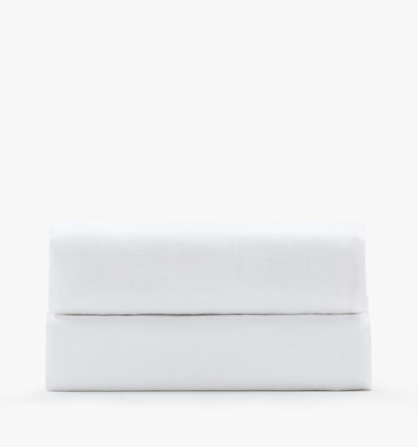 Linen fitted sheet - white