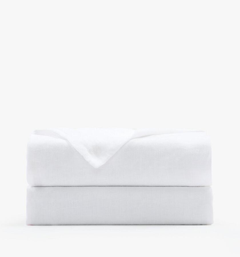 French linen white flat sheet