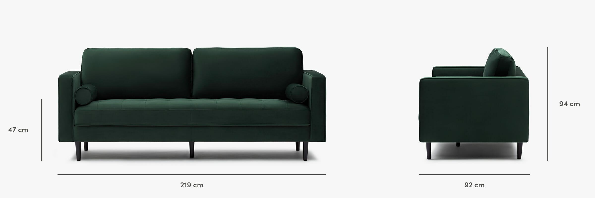 Soho sofa velours - dimensions