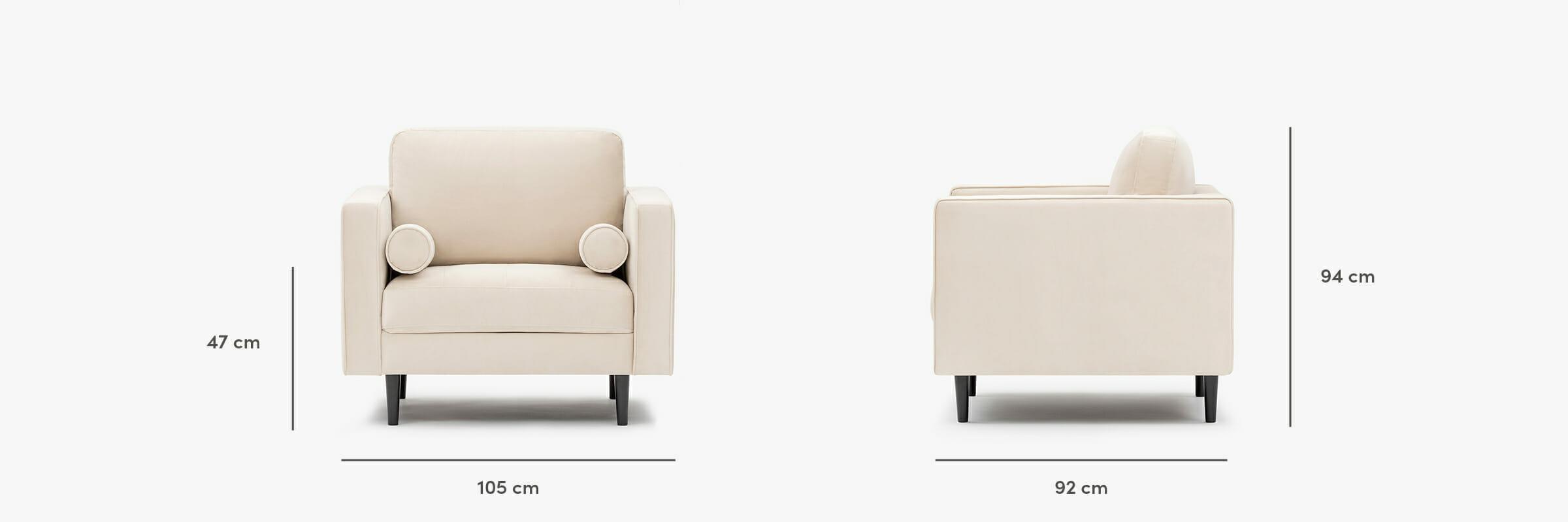 Canapé en velours Soho - dimensions