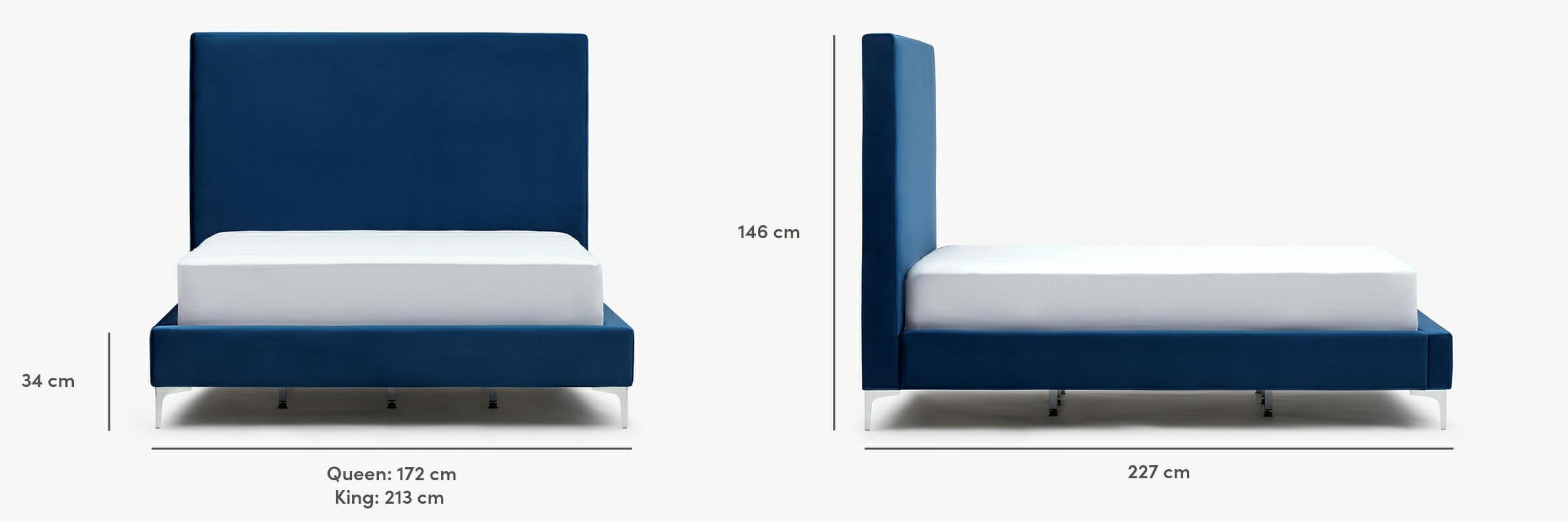 Lit en velours Modena - dimensions