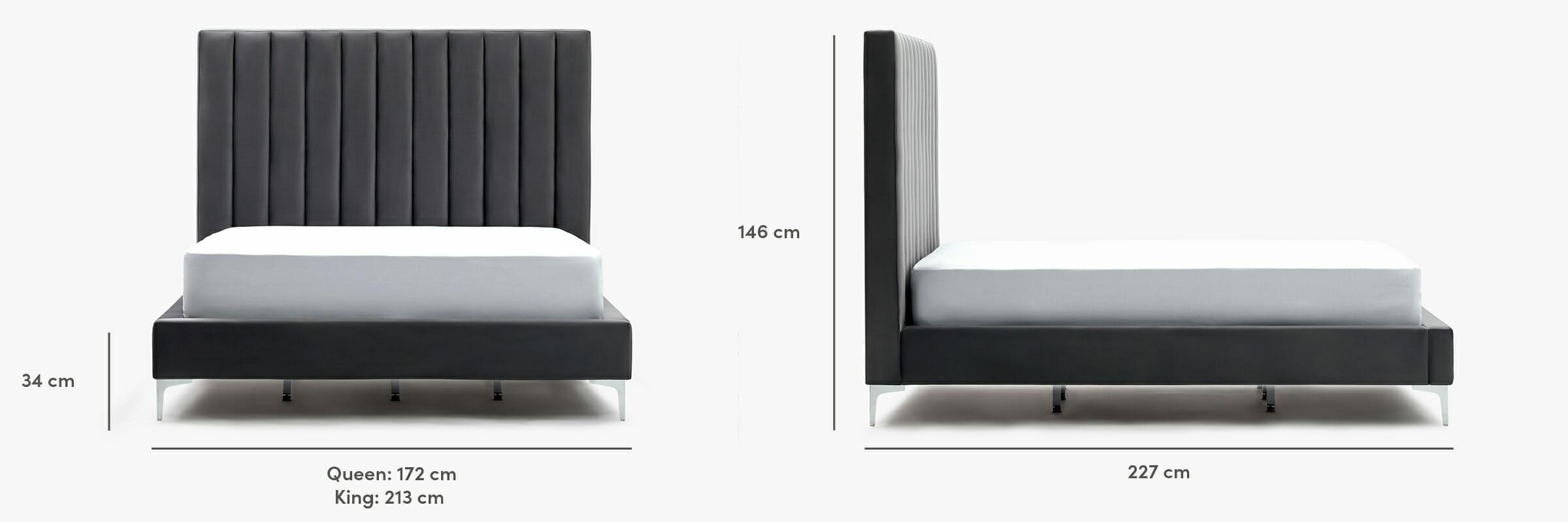 Lit en velours Parker - dimensions