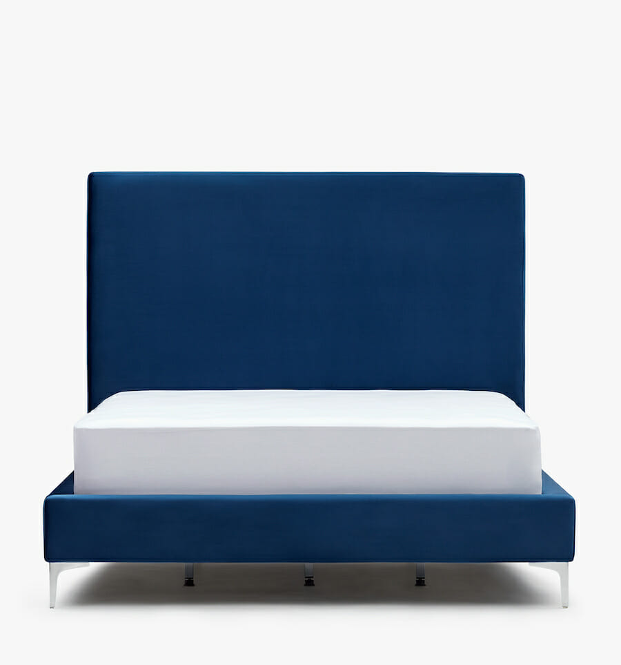 Lit Modena en velours - bleu