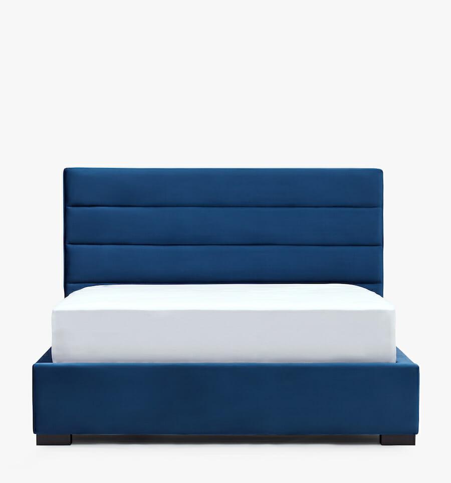 Lit Oxford en velours - bleu