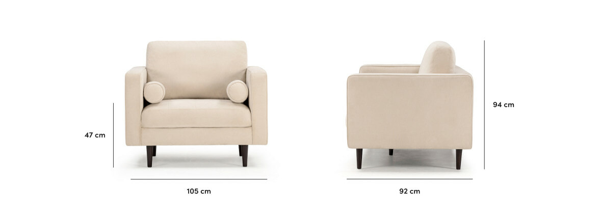 Soho armchair in ivory with dimensions