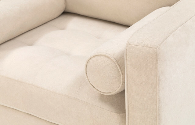 Soho armchair in ivory close-up view