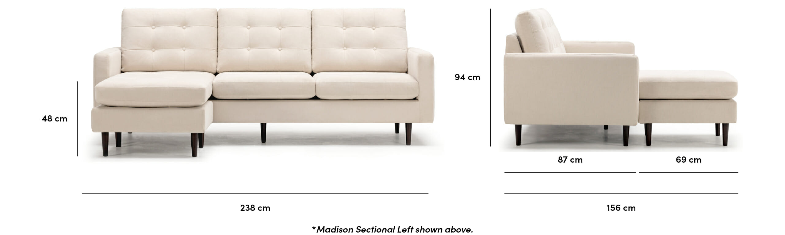 Madison sectional dimensions