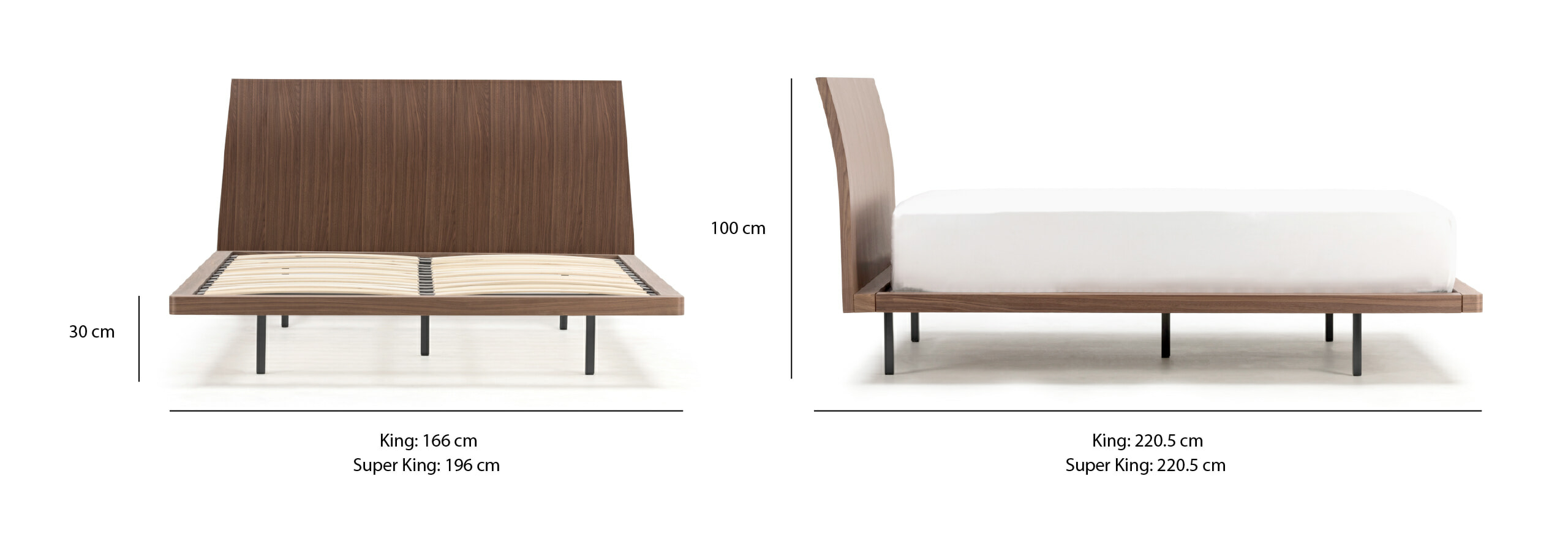 Noa sunset bed dimensions (UK)