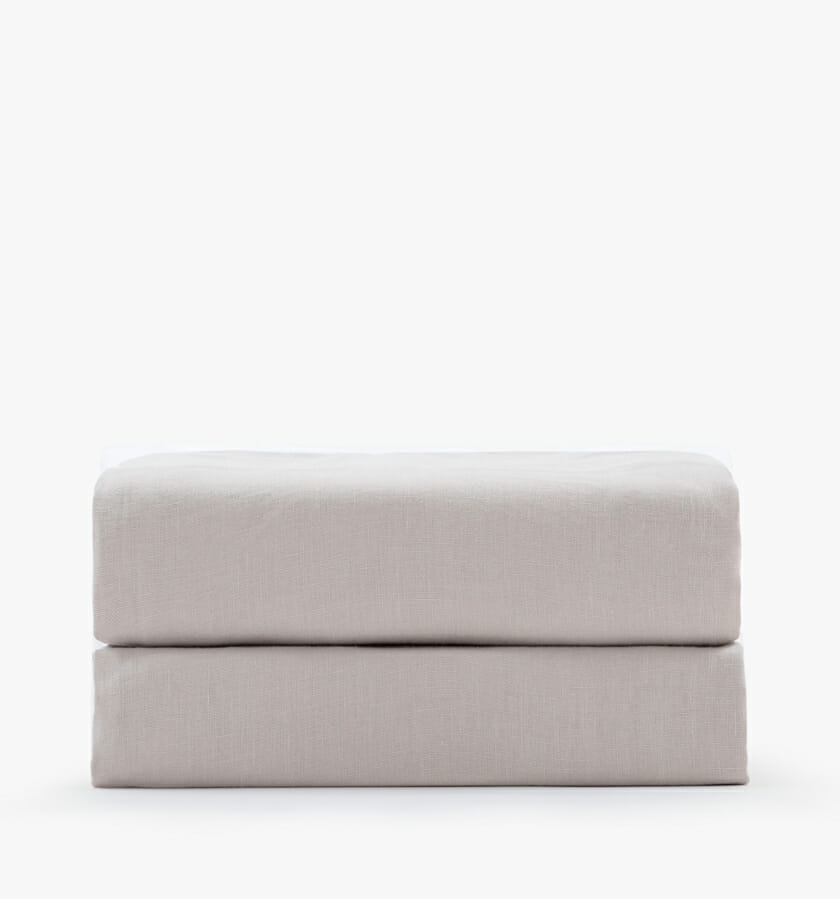 Linen fitted sheet - sand