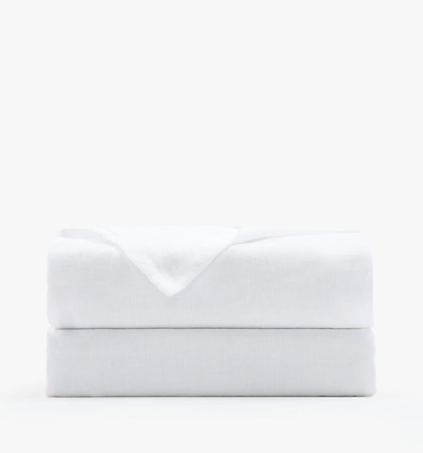 French linen white flat sheet