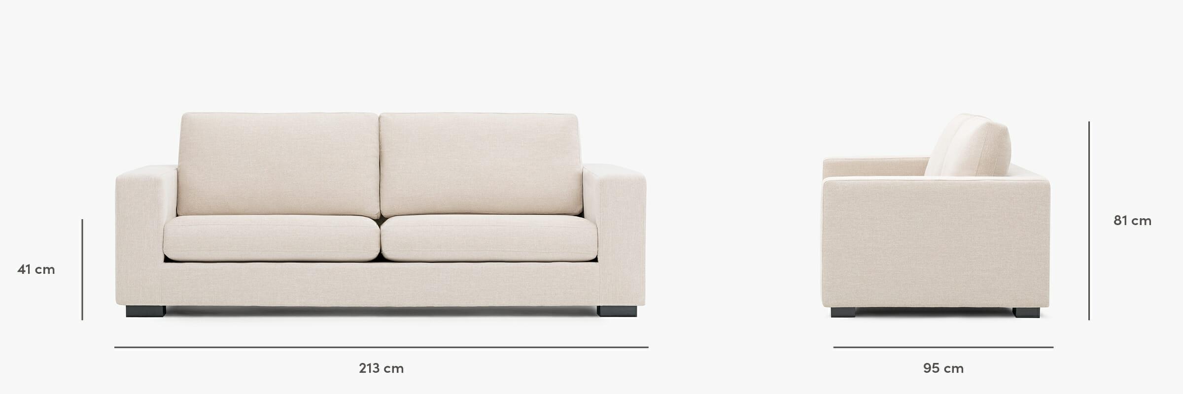 The malibu sofa dimensions