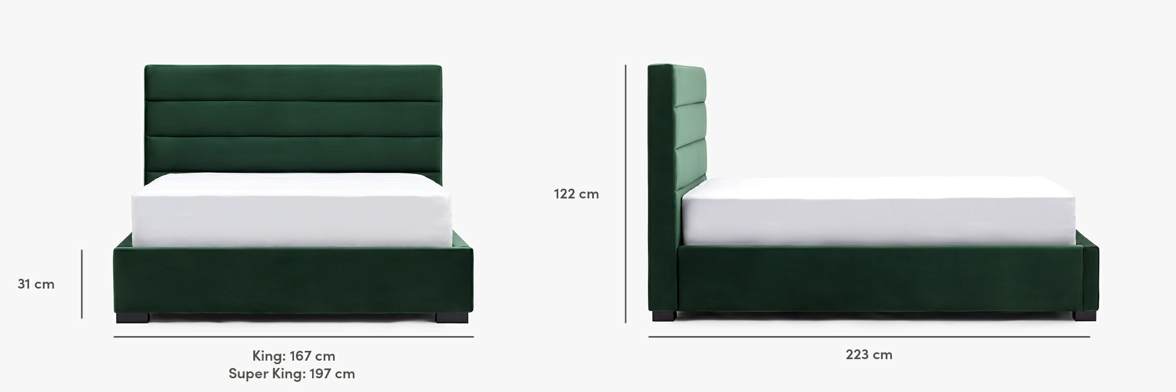 The oxford bed dimensions