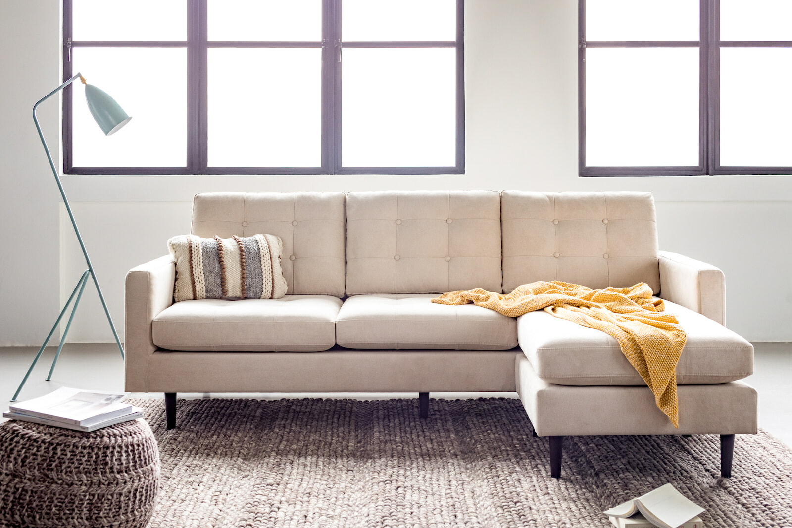 Madison ivory sectional right