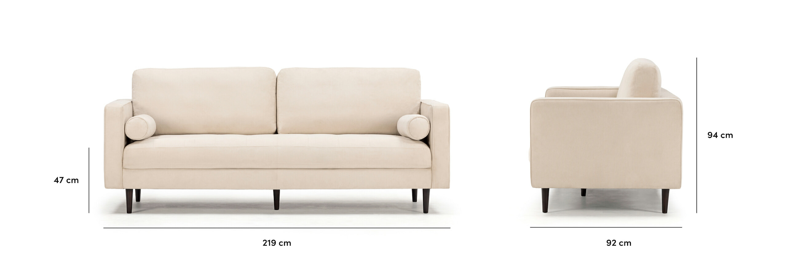 Soho sofa in ivory with dimensions