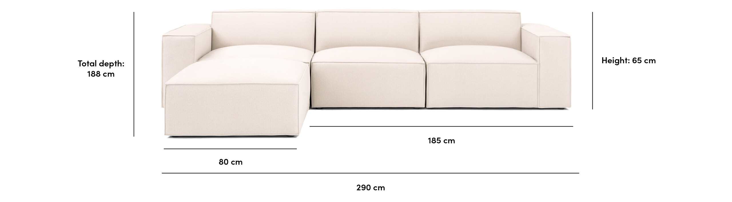 Noa Pacific sectional sofa dimensions