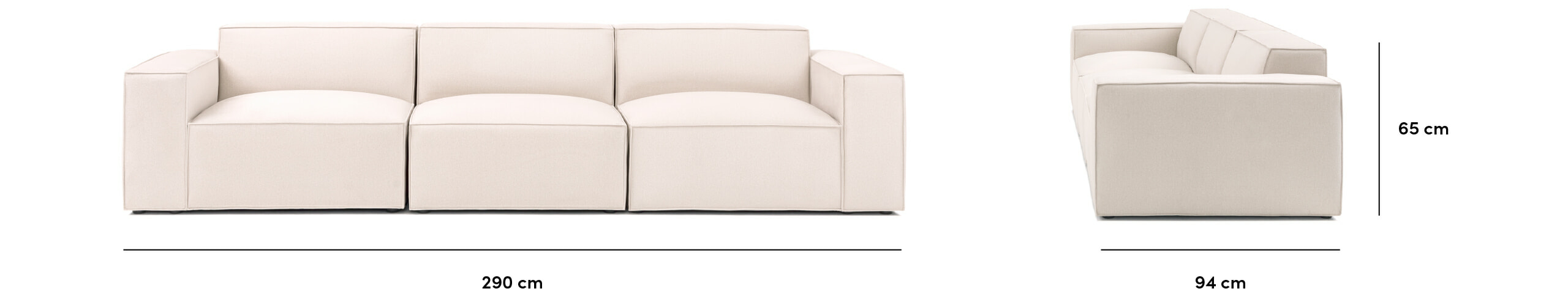 PACIFIC 3-piece modular sofa dimensions