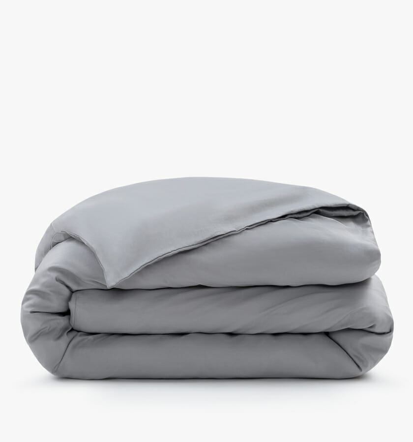 Cotton sateen duvet cover stone