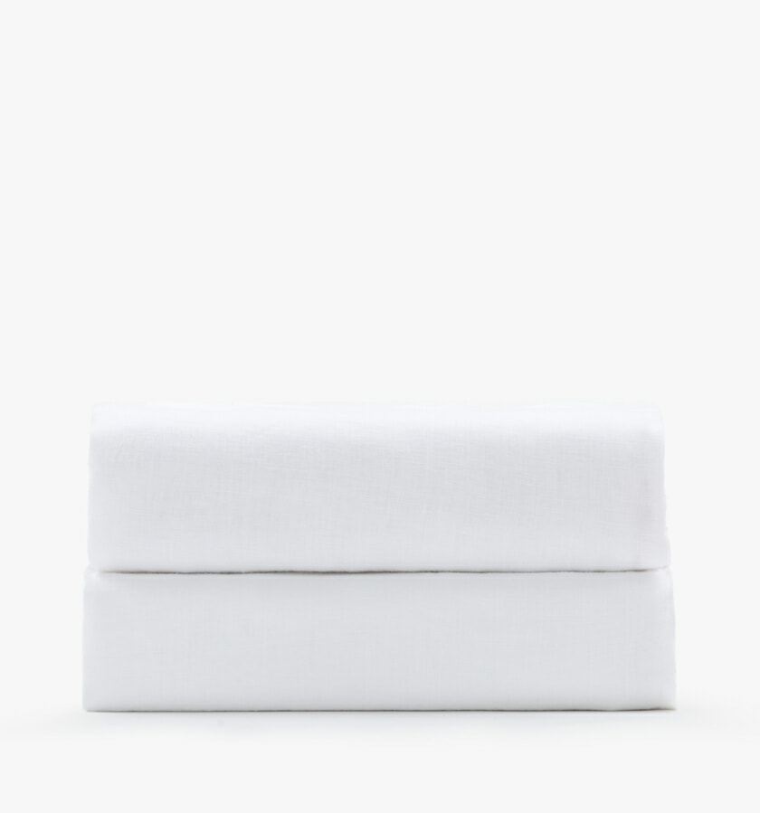 Linen white fitted sheet
