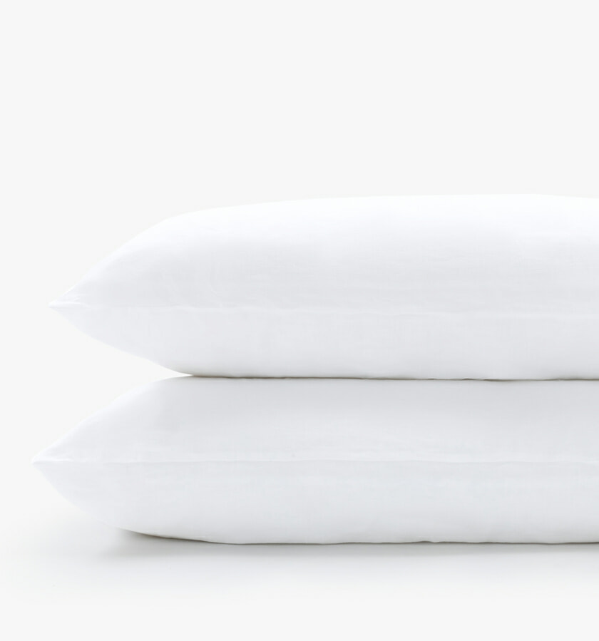 French linen white pillowcases
