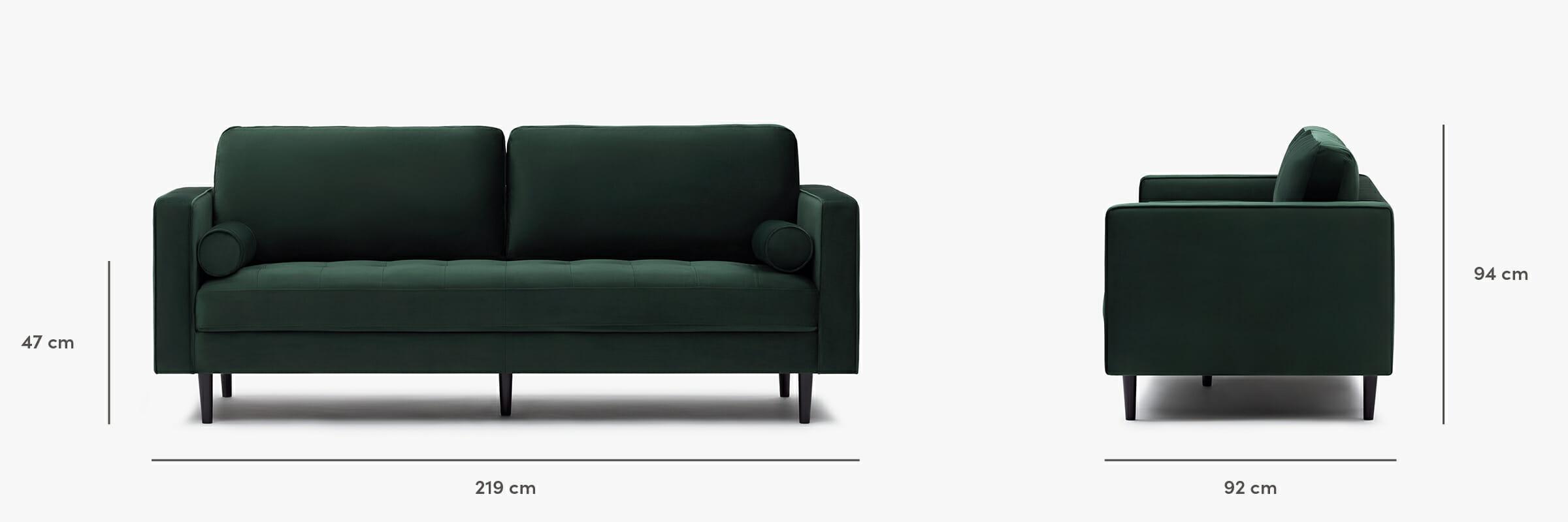Soho velvet sofa dimensions