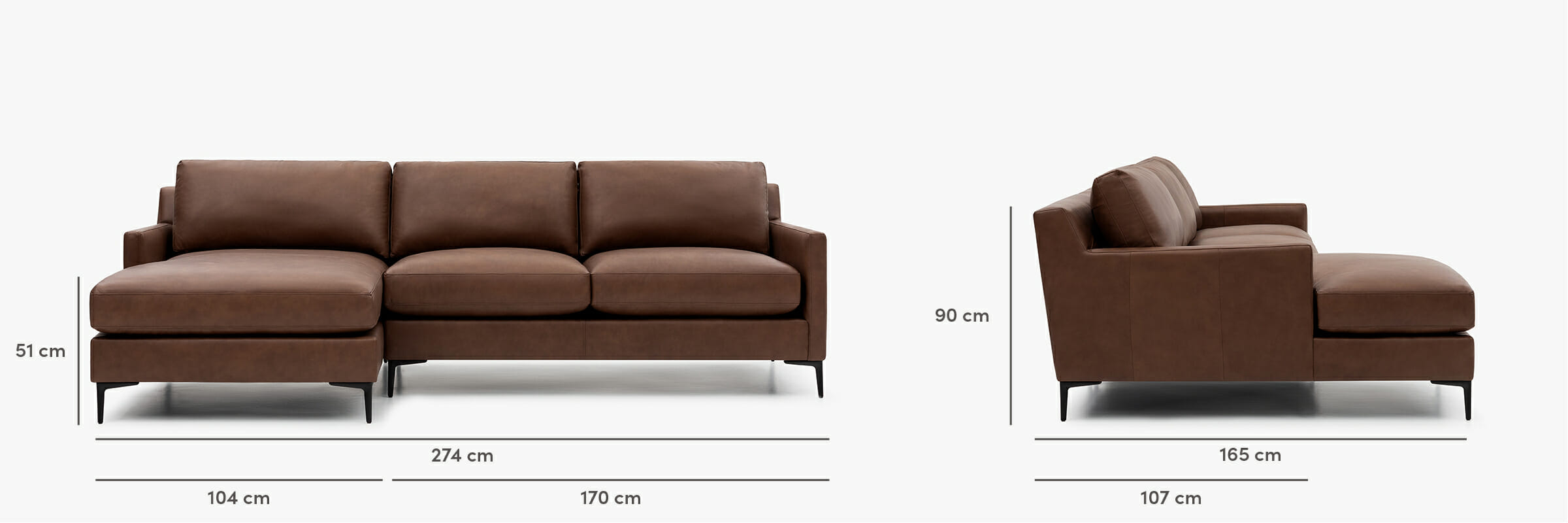 Kennedy sectional leather dimensions