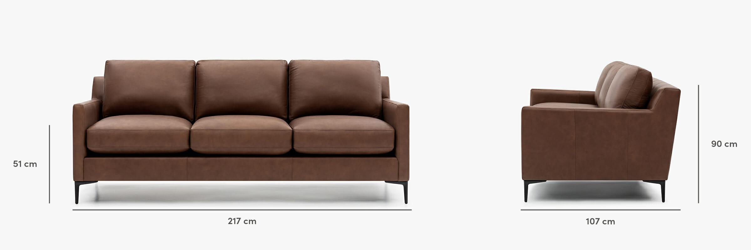 Kennedy leather sofa dimensions